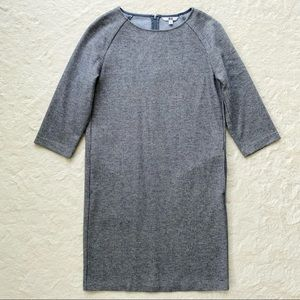 Uniqlo gray wool blend houndstooth shift dress XS